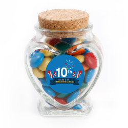 Blue Fireworks Text Anniversary Glass Jar