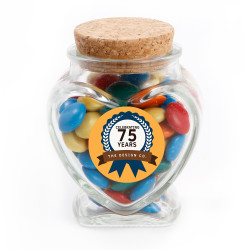 Orange Text Anniversary Glass Jar