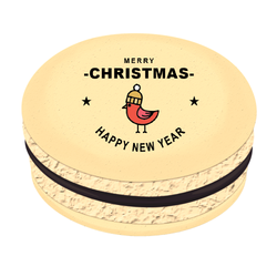 Bird Star Greetings Christmas Printed Macarons