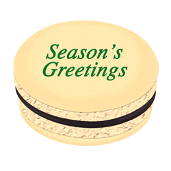 Green Season's Greetings Christmas Printed Macarons