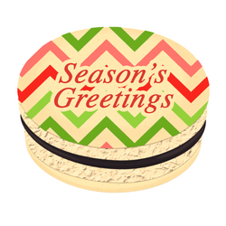 Chevron Season's Greetings Christmas Printed Macarons
