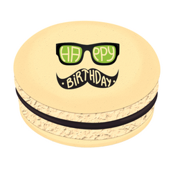 Mustache Happy Birthday  Printed Macarons
