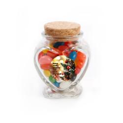 Love & Peace Christmas Heart Glass Jar