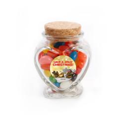Have a Jolly  Christmas Heart Glass Jar