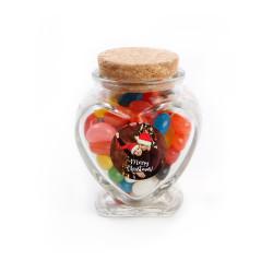 Merry Christmas 8 Christmas Heart Glass Jar