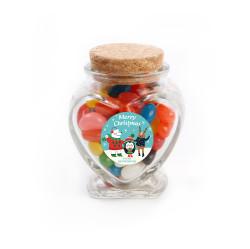 Merry Christmas 6 Christmas Heart Glass Jar