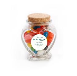 Merry Christmas 5 Christmas Heart Glass Jar