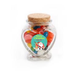 Merry Christmas 4 Christmas Heart Glass Jar