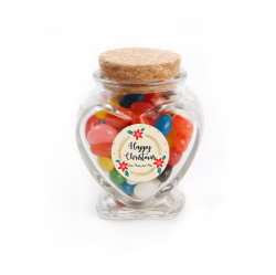 Happy Christmas Heart Glass Jar