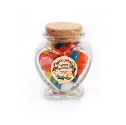 Merry Christmas 3 Christmas  Heart Glass Jar