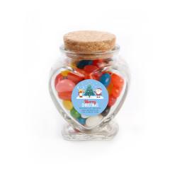 Merry Christmas 1 Christmas  Heart Glass Jar