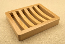 Curved Slotted Beech Wood Soap Dish