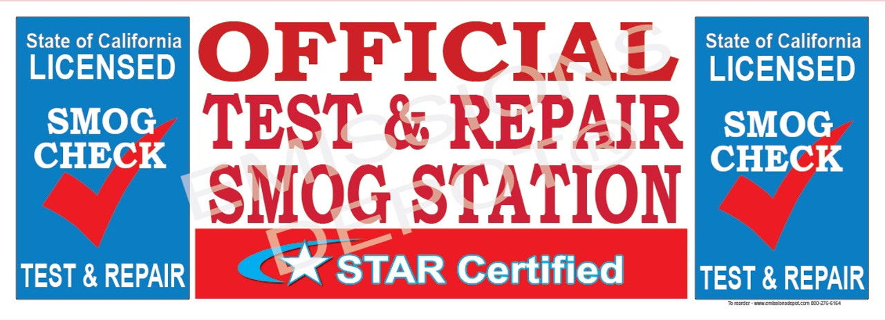 Official Test & Repair Smog Station Star Certified | Vinyl Banner