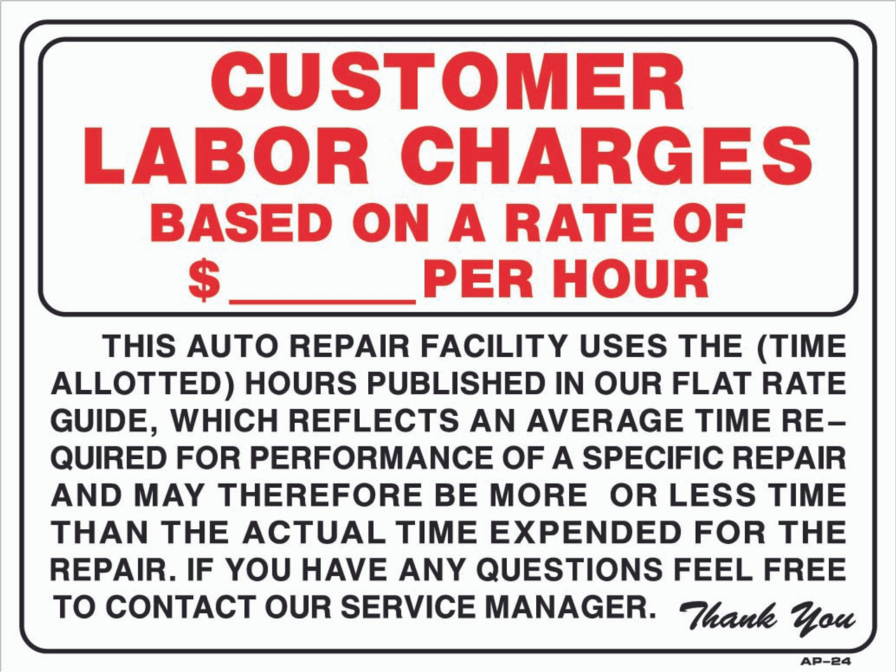 18x24 sign customer labor charge per hour 18in x 24in rh emissionsdepot com Auto Mechanic Tools auto mechanic flat rate guide