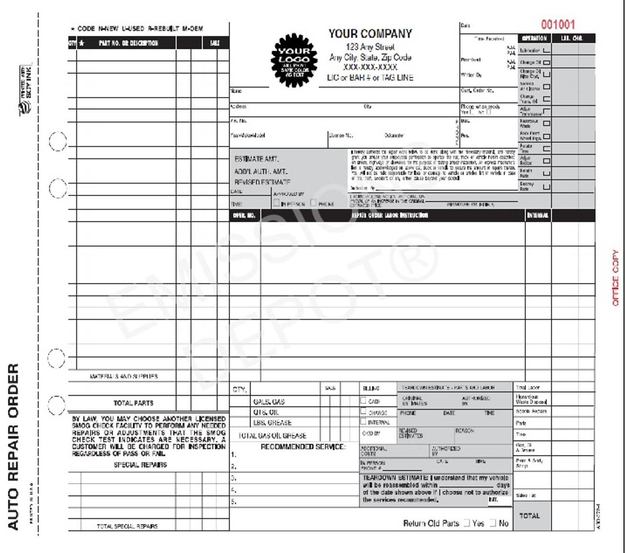 ARO Auto Repair Work Order Invoice Part Carbon CA Version - Invoice 4 you