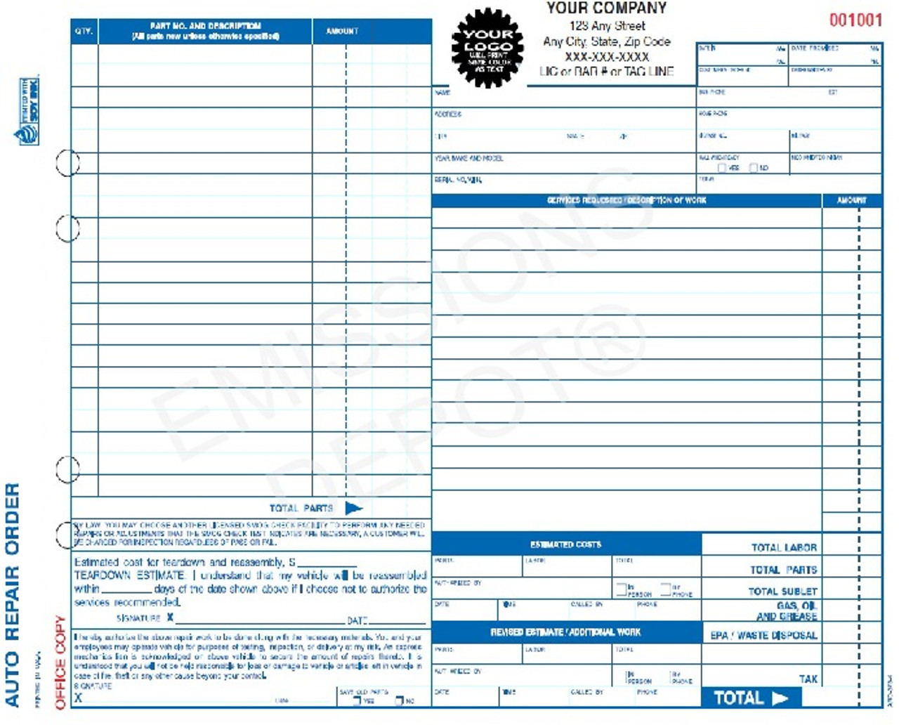 ARO Auto Repair Work Order Invoice Part Carbon Copy - Invoice x