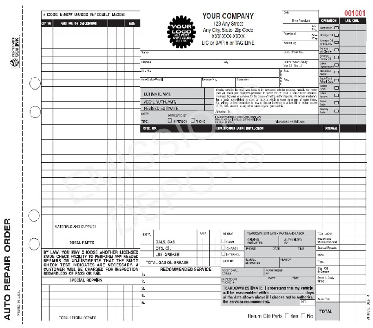 Arocc Smog  Auto Repair Form  Ca Version  Smog Disclaimer