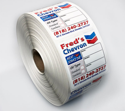 Custom Oil Change Reminder Stickers | 2' X 2' Full Color .