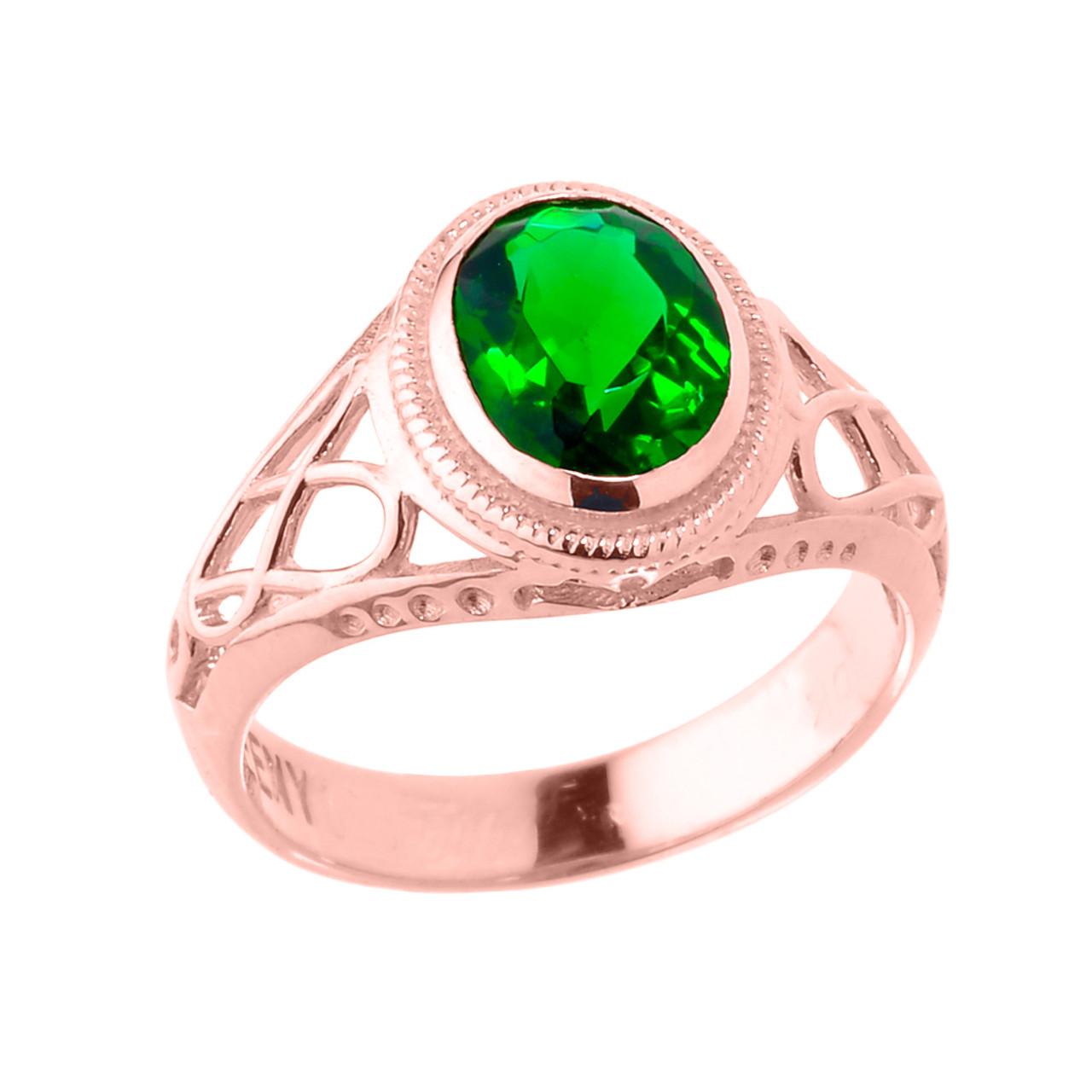 Rose Gold Celtic Lady\'s Birthstone Ring