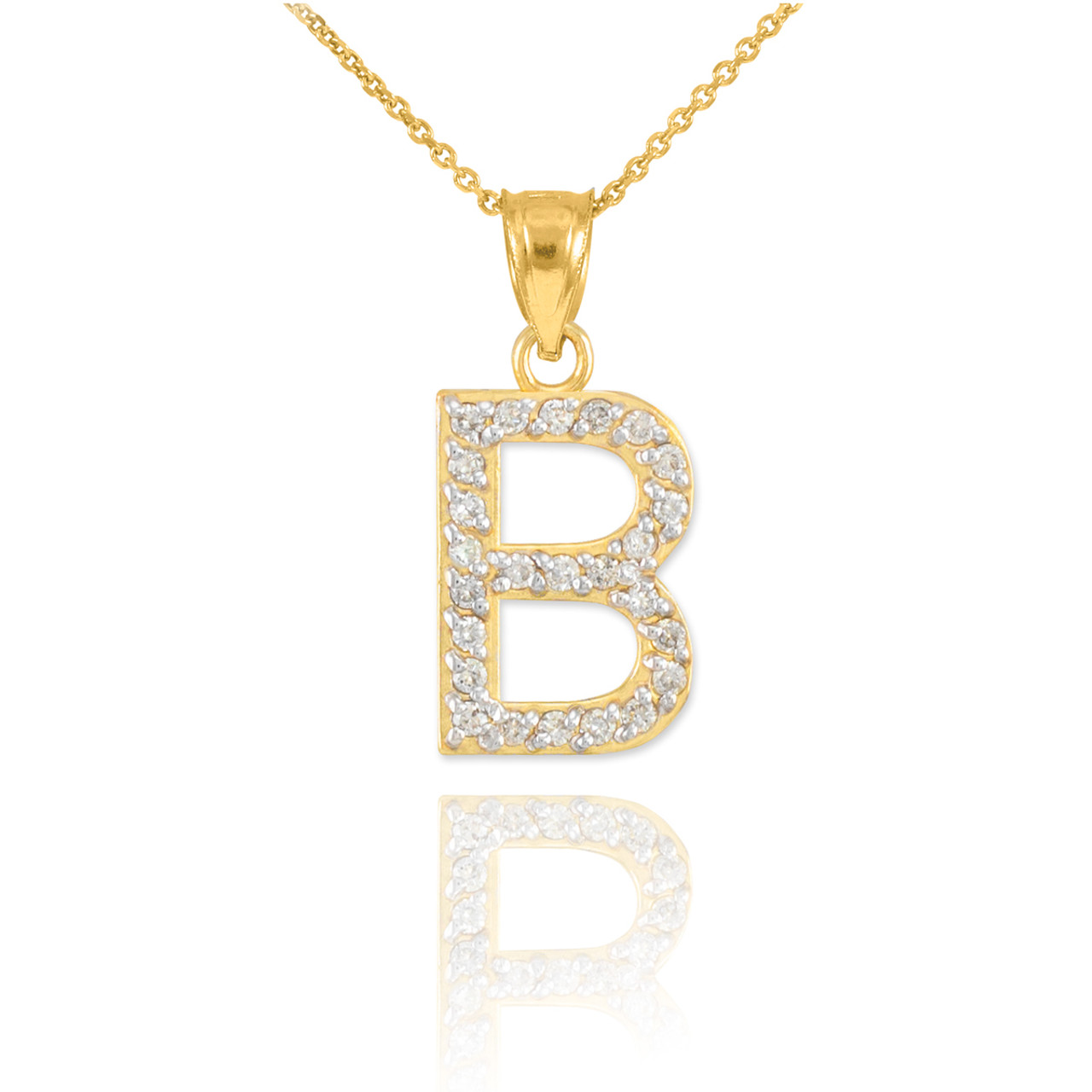 Gold letter b diamond initial pendant necklace aloadofball Image collections