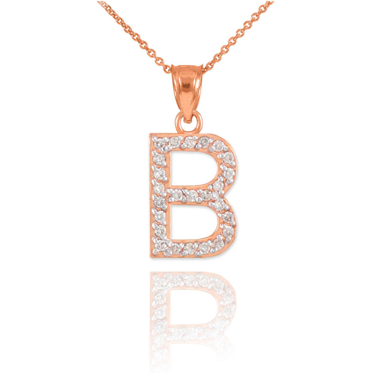 Rose gold letter b diamond initial pendant necklace aloadofball Choice Image