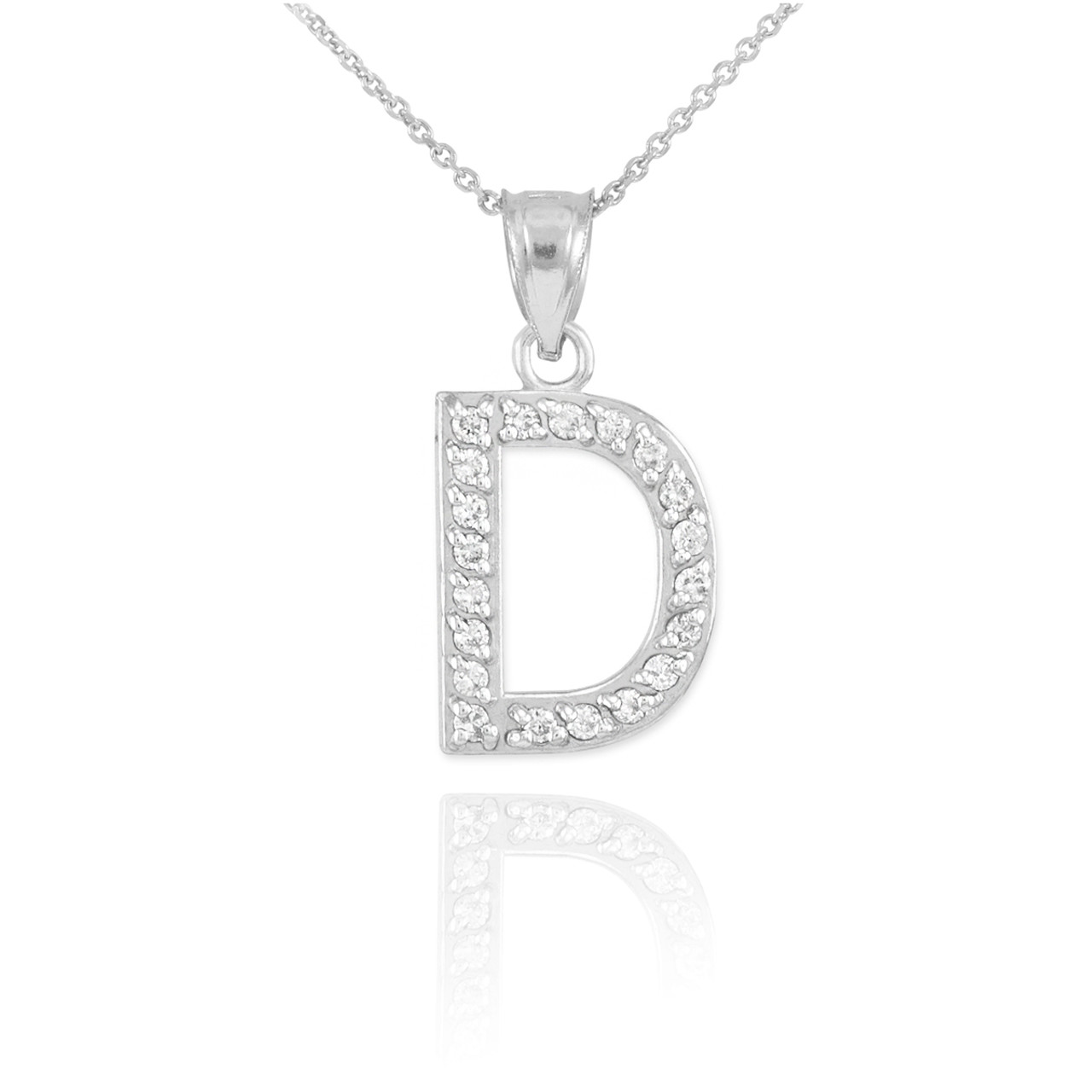 White gold letter d diamond initial pendant necklace aloadofball Image collections