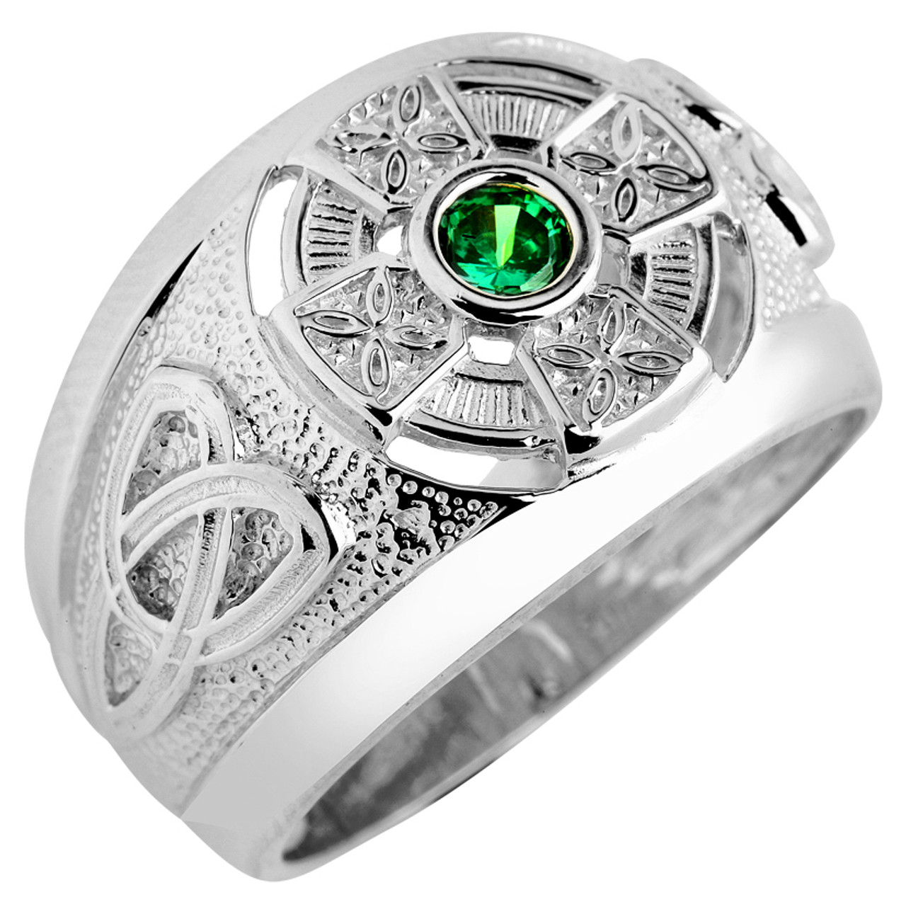 Men s White Gold Celtic Cross Ring with CZ Emerald