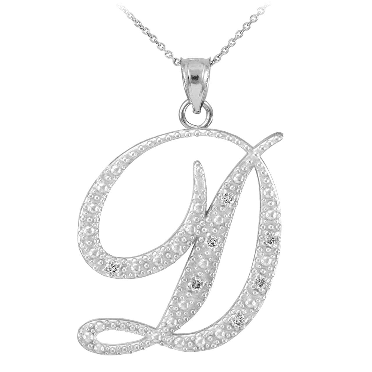 14k white gold letter script d diamond initial pendant necklace