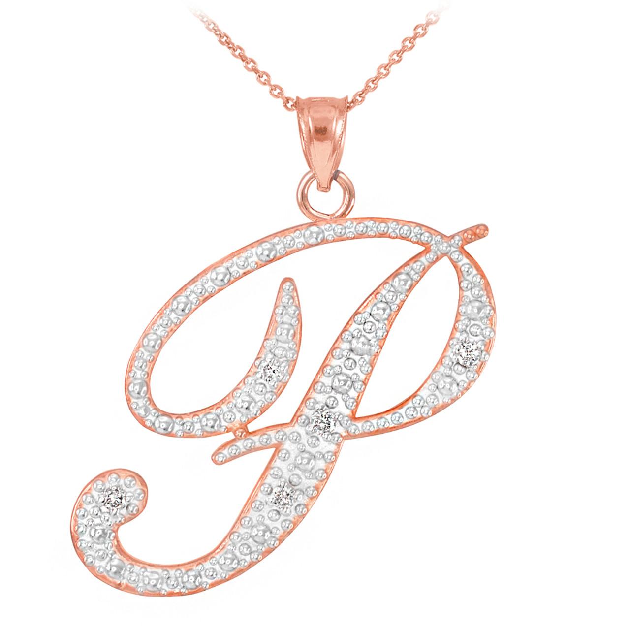 14k rose gold letter script p diamond initial pendant necklace aloadofball Choice Image