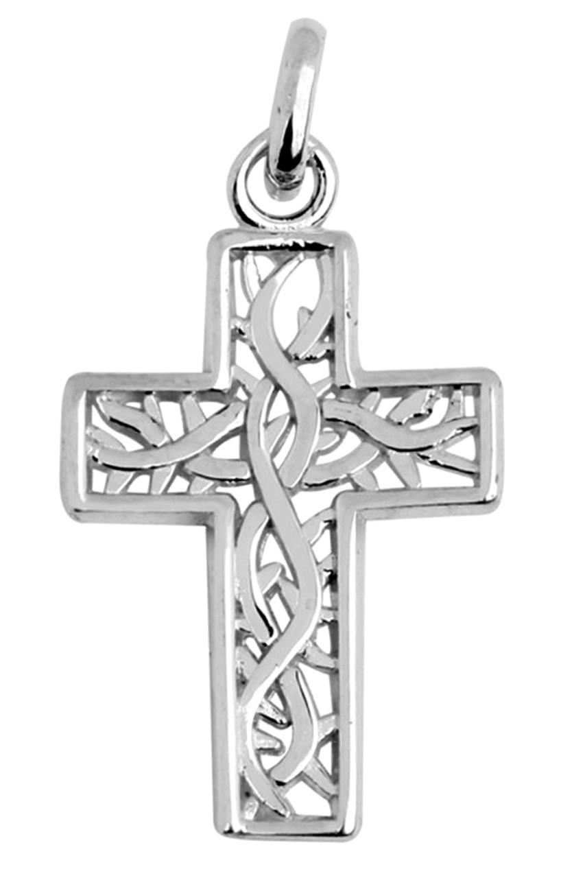 Celtic gaelic vine white gold cross pendant aloadofball Gallery