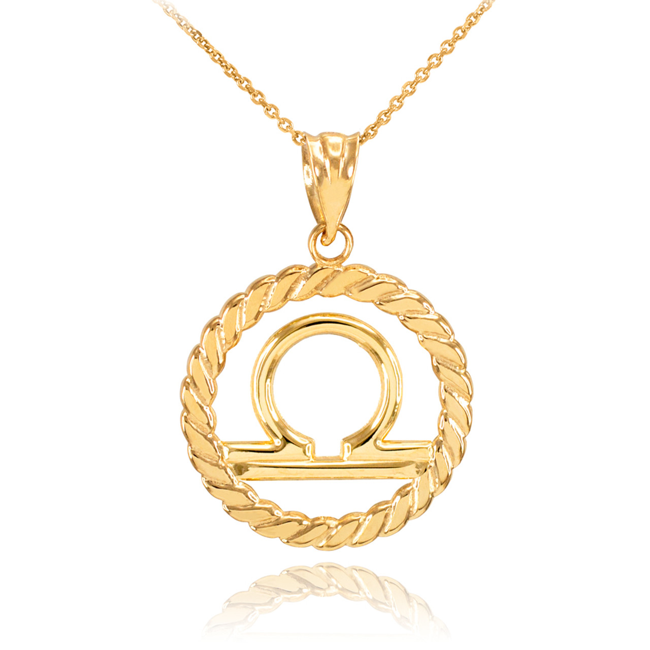 Yellow gold libra zodiac sign in circle rope pendant necklace gold libra zodiac sign in circle rope pendant necklace aloadofball Images