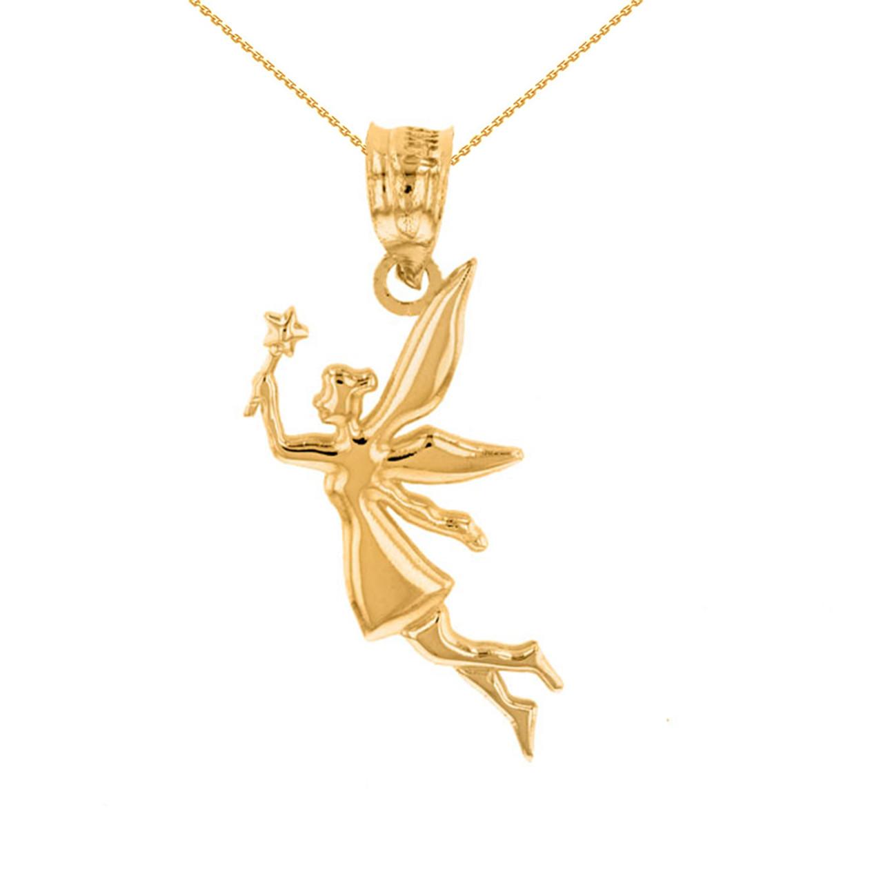Yellow gold angel fairy magic wand pendant necklace aloadofball Images