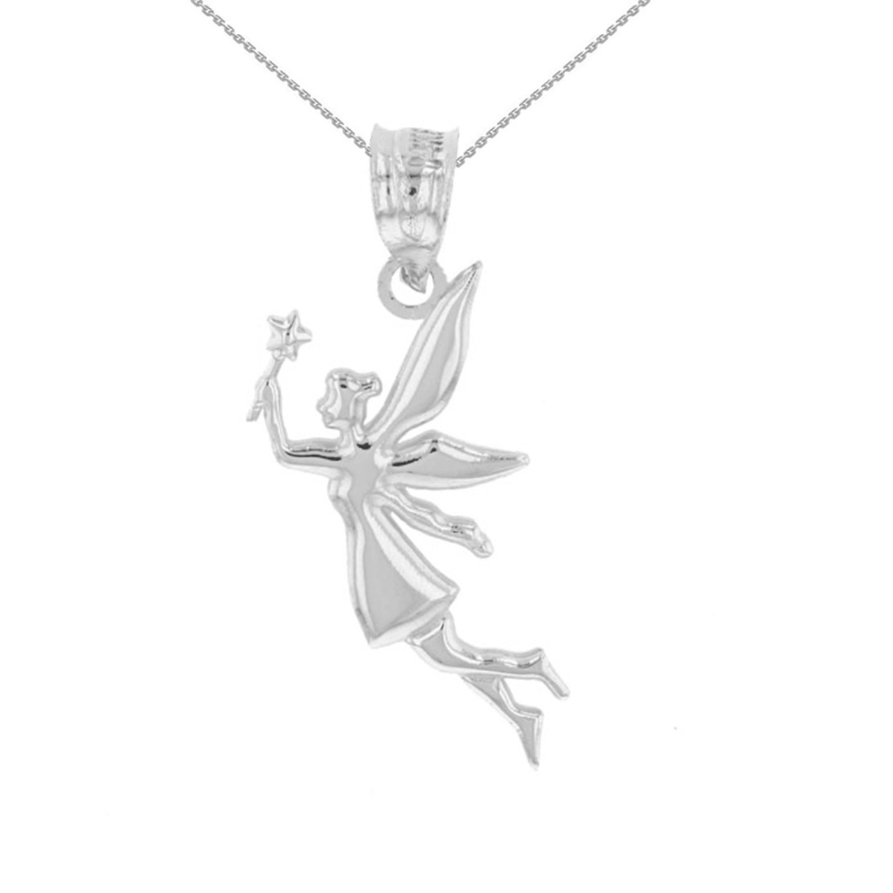 Sterling silver angel fairy magic wand pendant necklace aloadofball Image collections