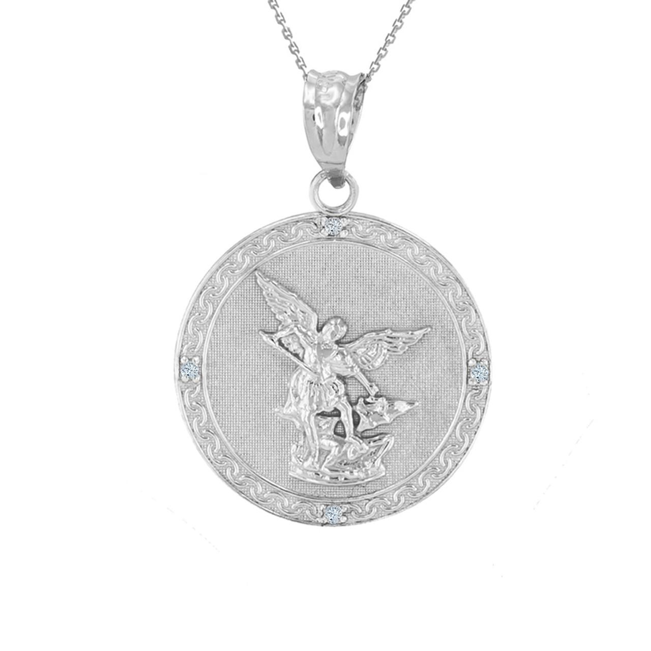 White gold st michael archangel diamond pendant necklace 102 aloadofball Choice Image