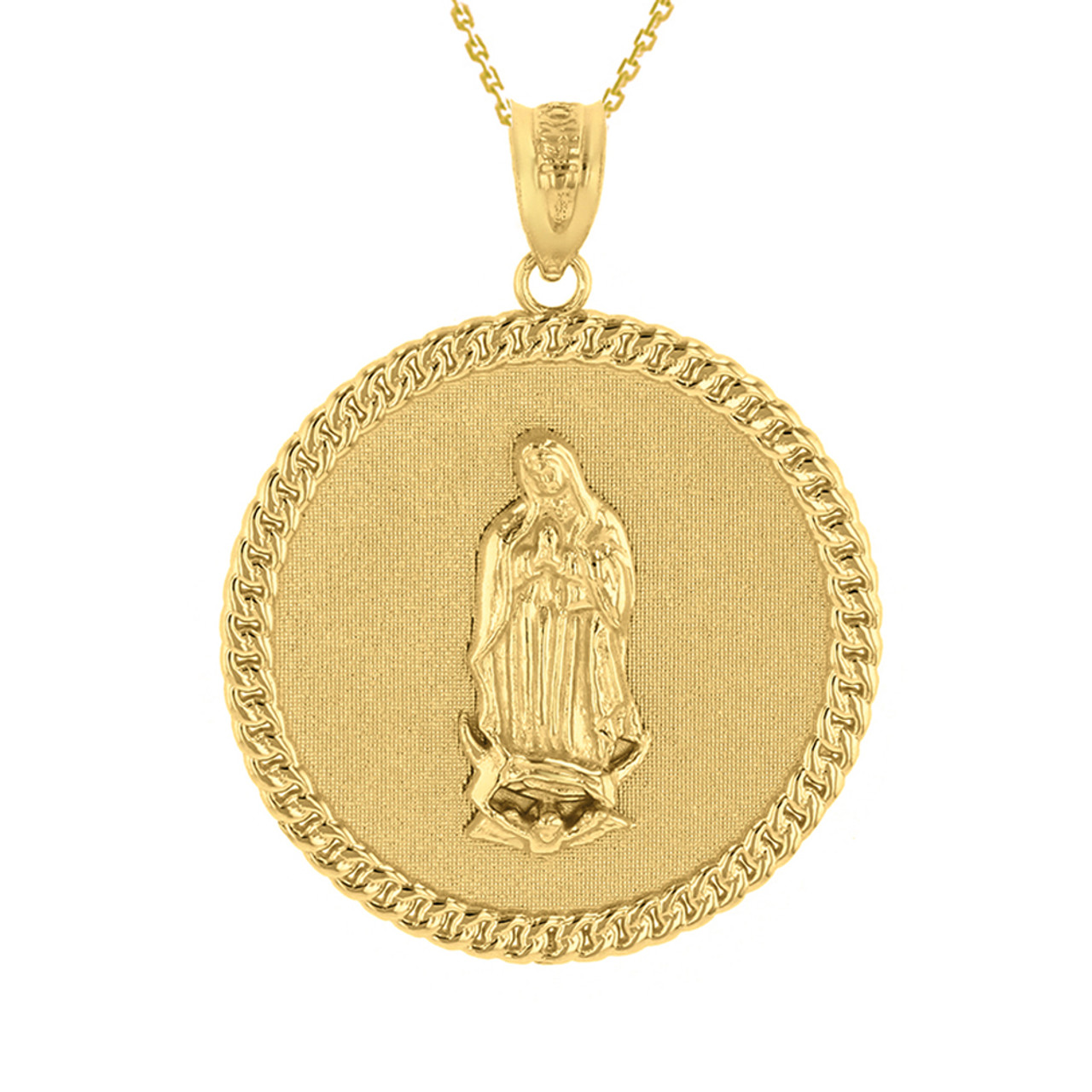 of assisi circle yellow chain small pendant francis necklace w medallion saint gold diamond