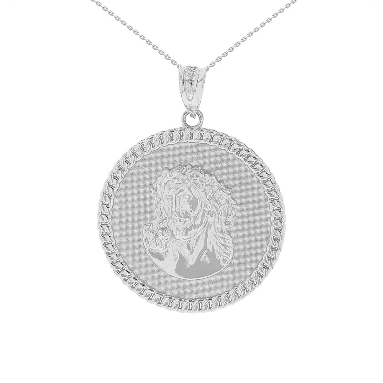 Solid white gold cuban curb link frame circle jesus christ medallion solid white gold cuban curb link frame circle jesus christ medallion pendant necklace aloadofball Images