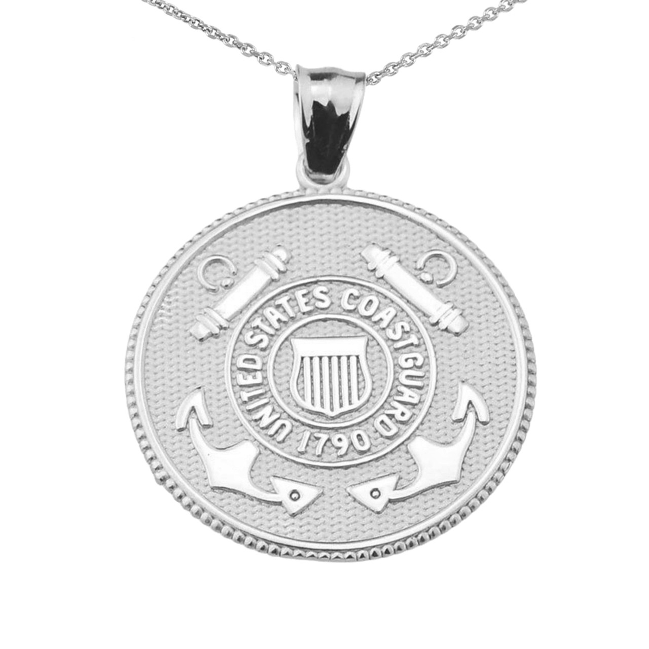 Us coast guard solid white gold disk pendant necklace us coast guard solid white gold coin pendant necklace aloadofball Image collections