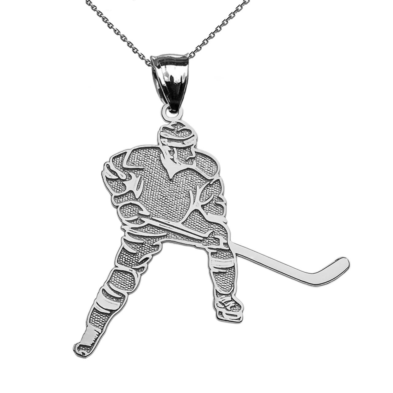 Hockey player sports white gold pendant necklace aloadofball Choice Image