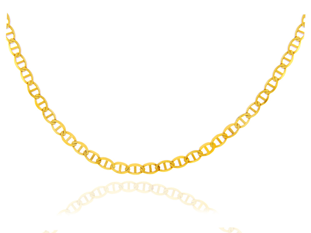 solid chain genuine mariner mm inch links bevelled necklace gold review and pin anchor chains hollow yellow