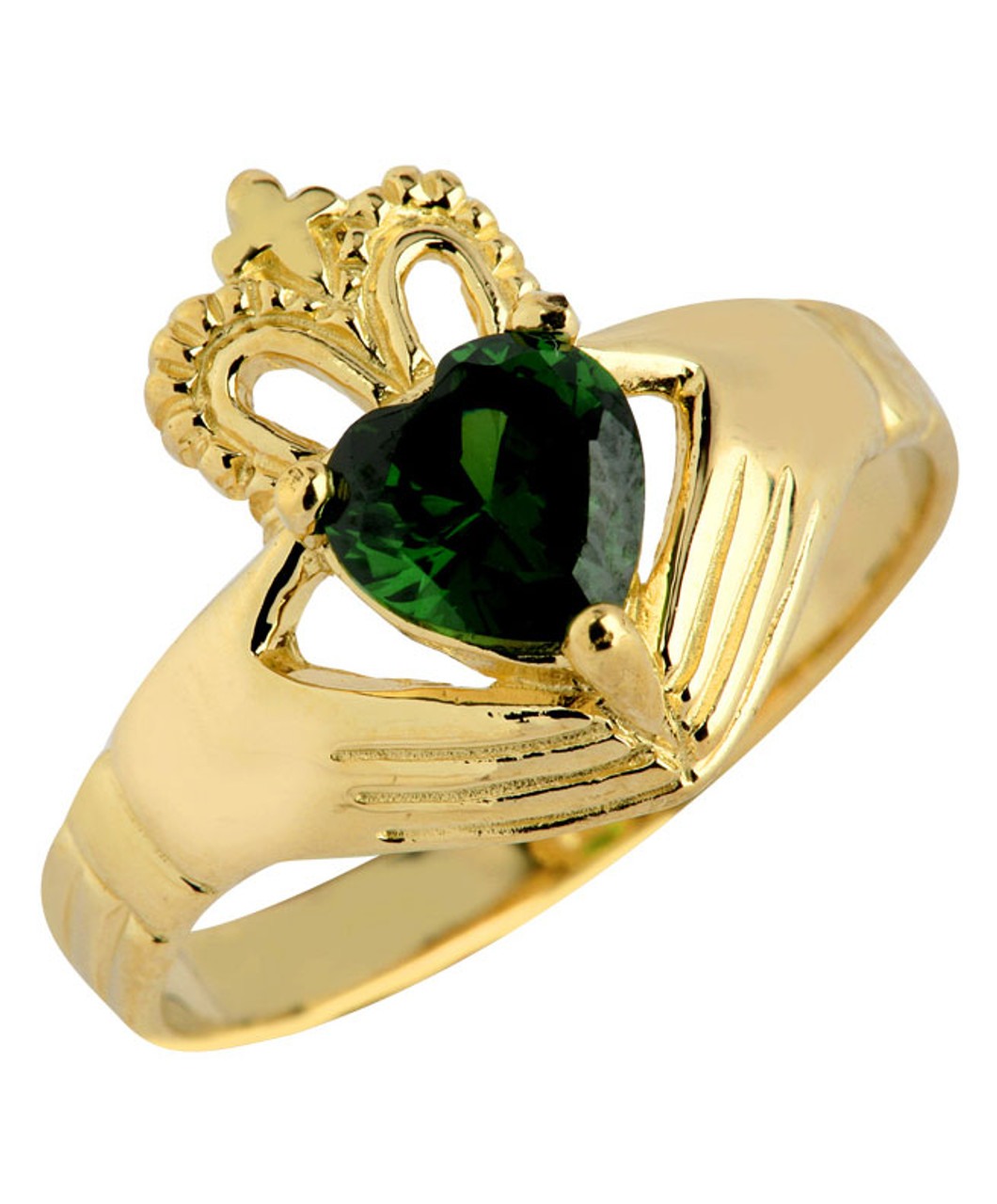 Claddagh La s Ring with Green Emerald CZ Stone