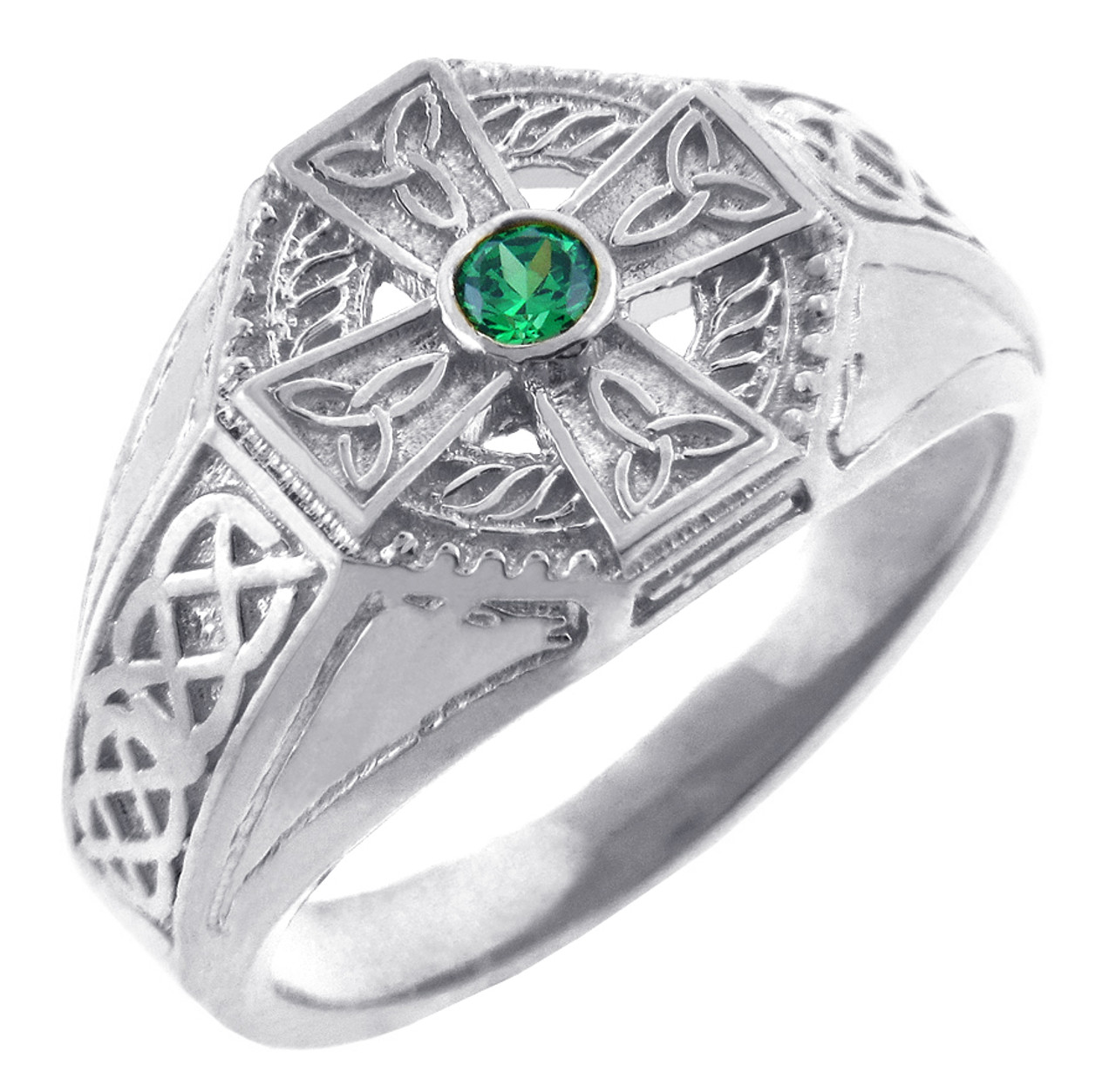 Celtic Band White Gold Celtic Ring with Emerald