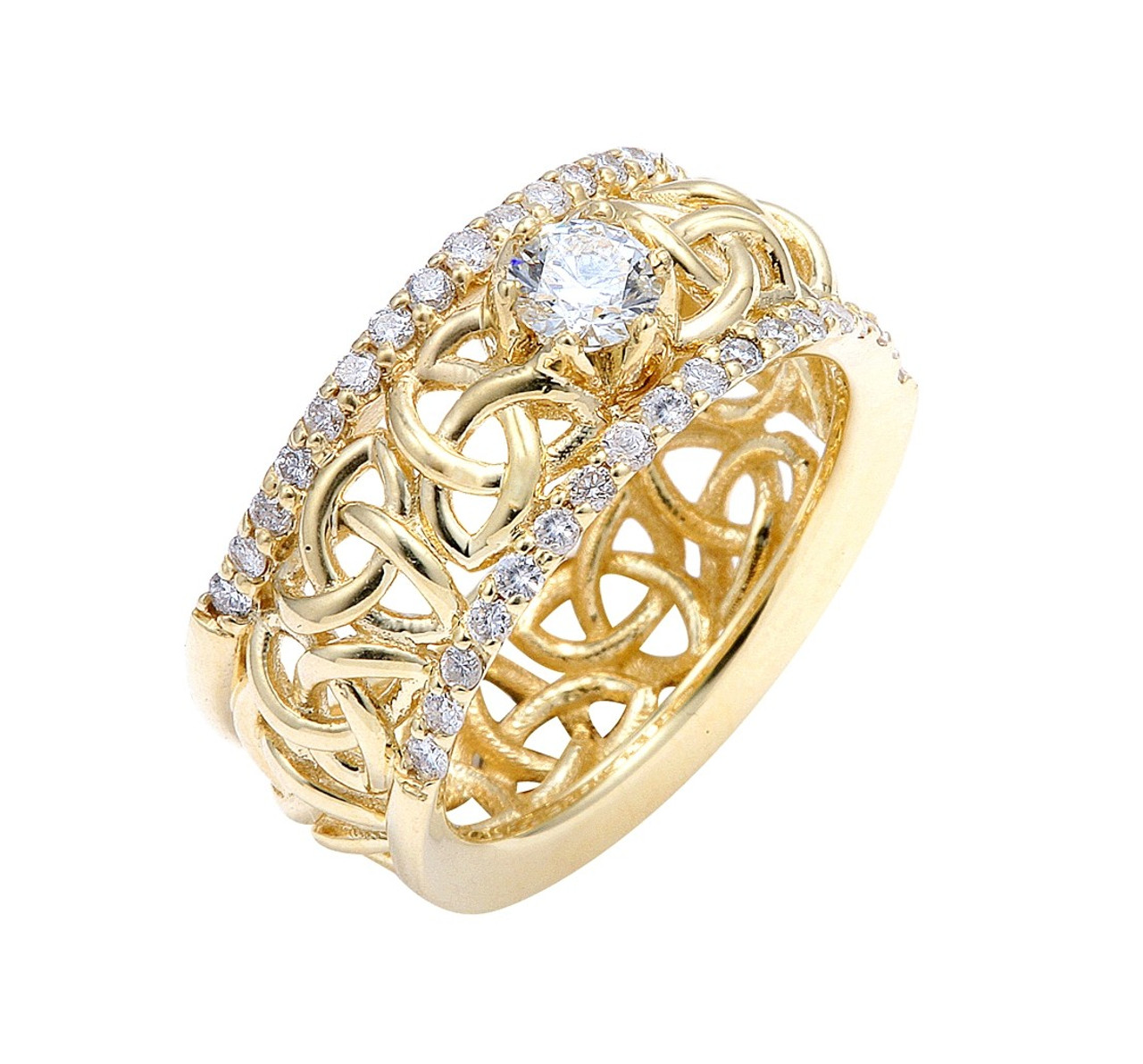 white rockher diamond knot love halo rings in shank round with gold ring engagement