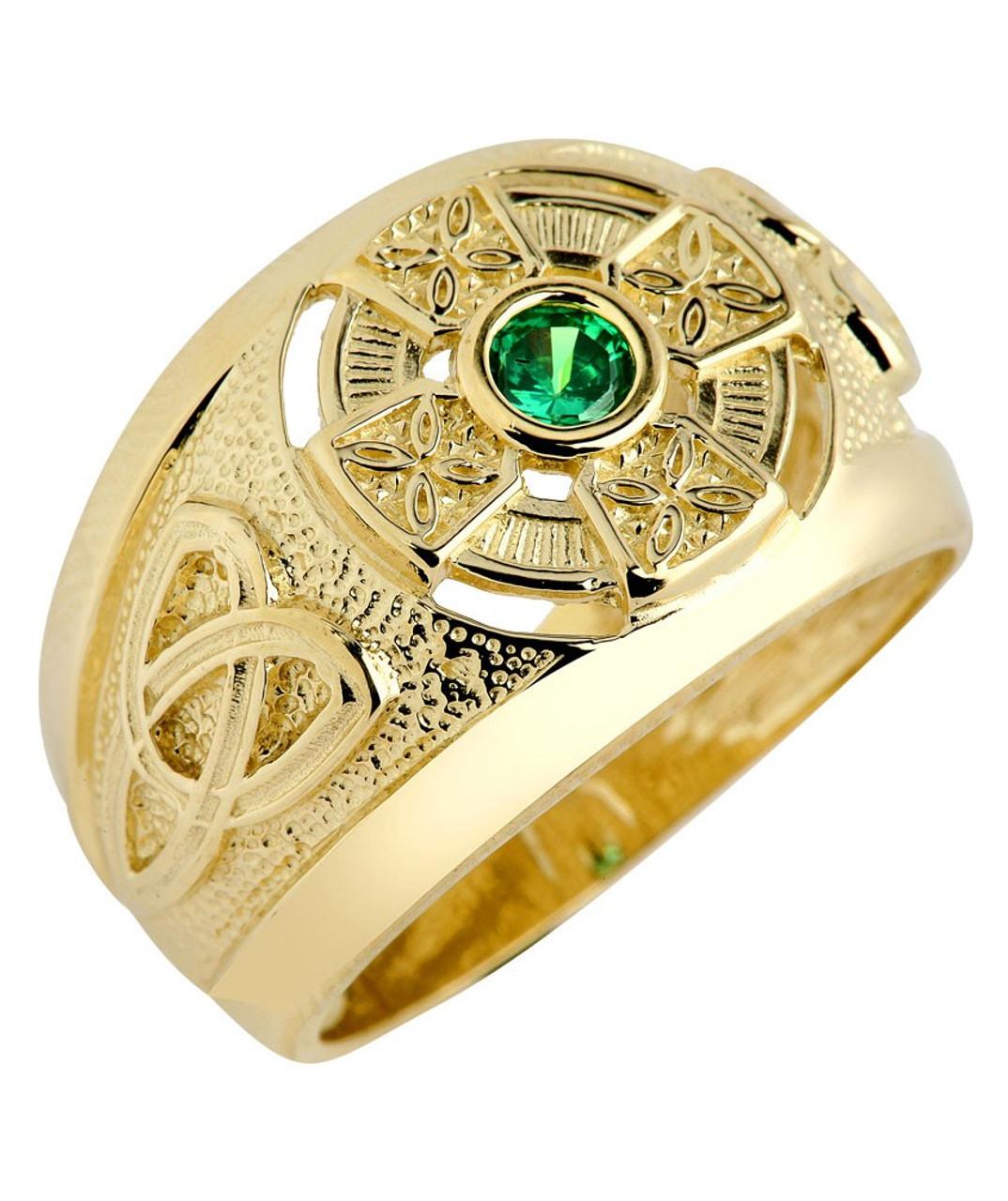 Brand-new Yellow Gold Celtic Cross Men's Green CZ Emerald Ring YJ67