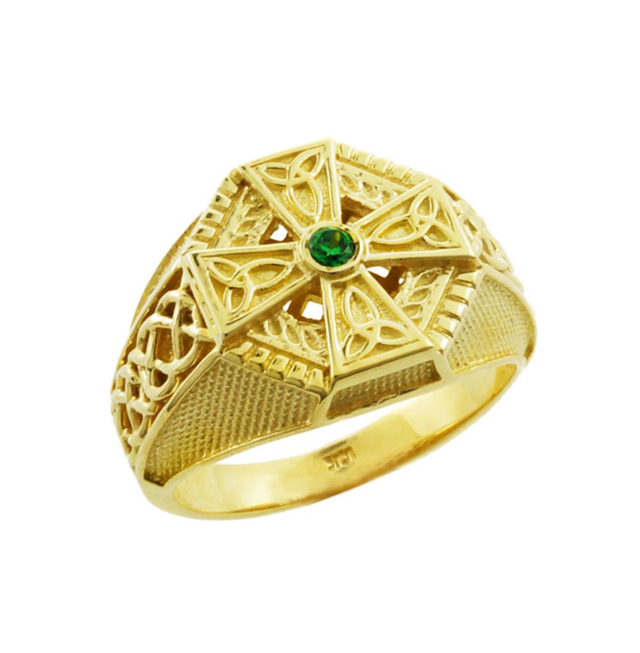 New Yellow Gold Celtic Cross Green CZ Mens Emerald Ring PD03