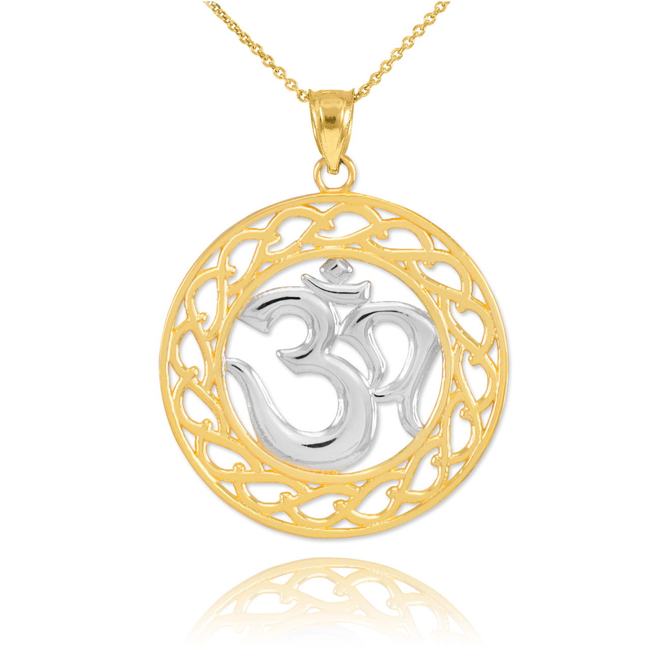 Two Tone Gold Om Symbol Pendant Necklace Om Pendants