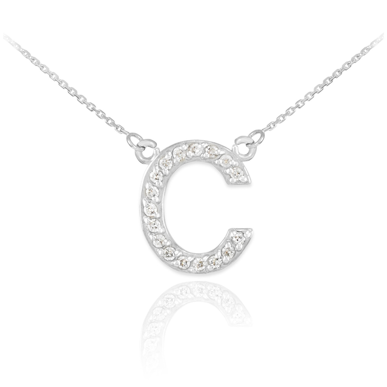 14k white gold letter c diamond initial necklace aloadofball Gallery