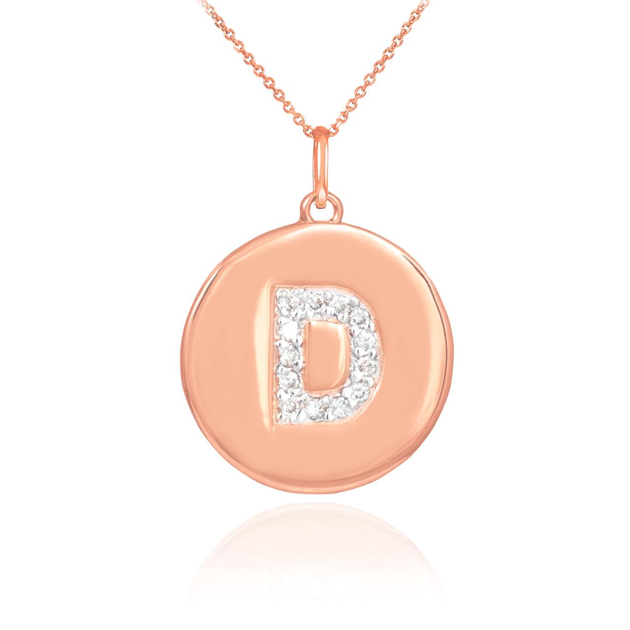 14k rose gold letter quotdquot initial diamond disc pendant for Letter d diamond pendant