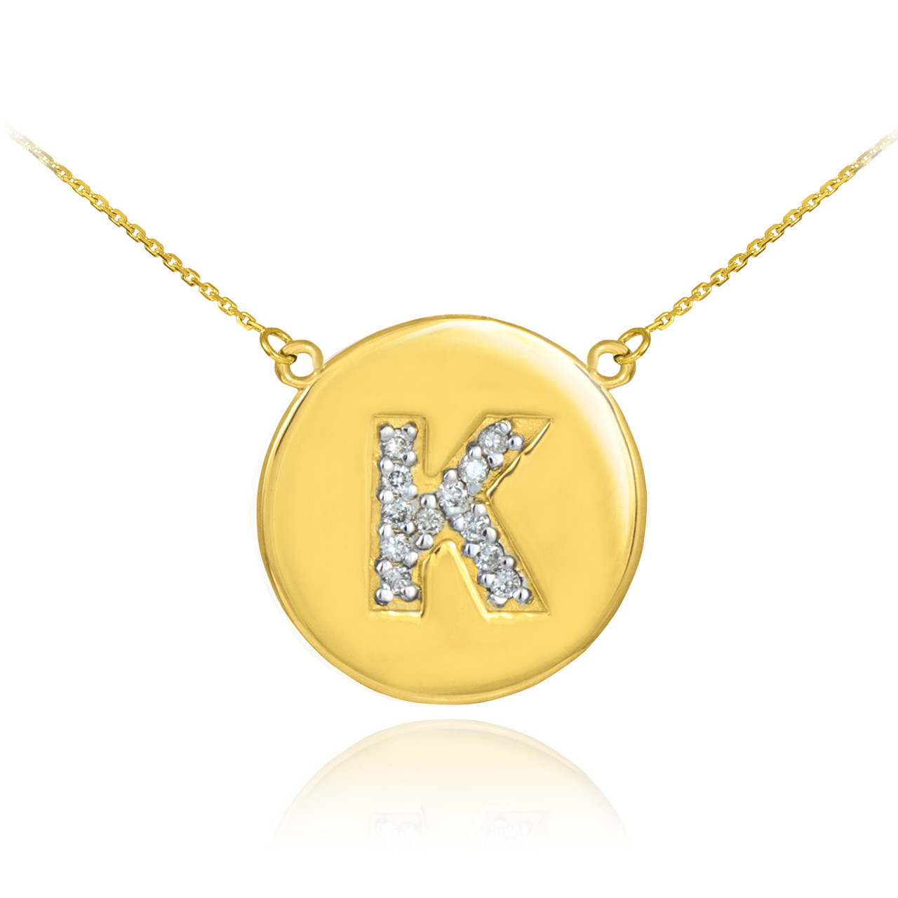 Initial k disc necklace gold letter k disc necklace diamond letter k disc necklace with diamonds in 14k yellow aloadofball Image collections
