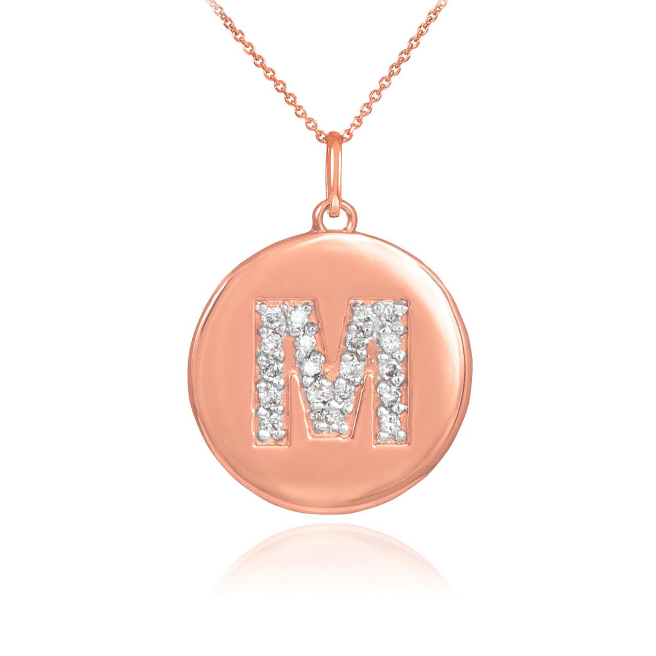 14k rose gold letter m initial diamond disc pendant necklace aloadofball Choice Image
