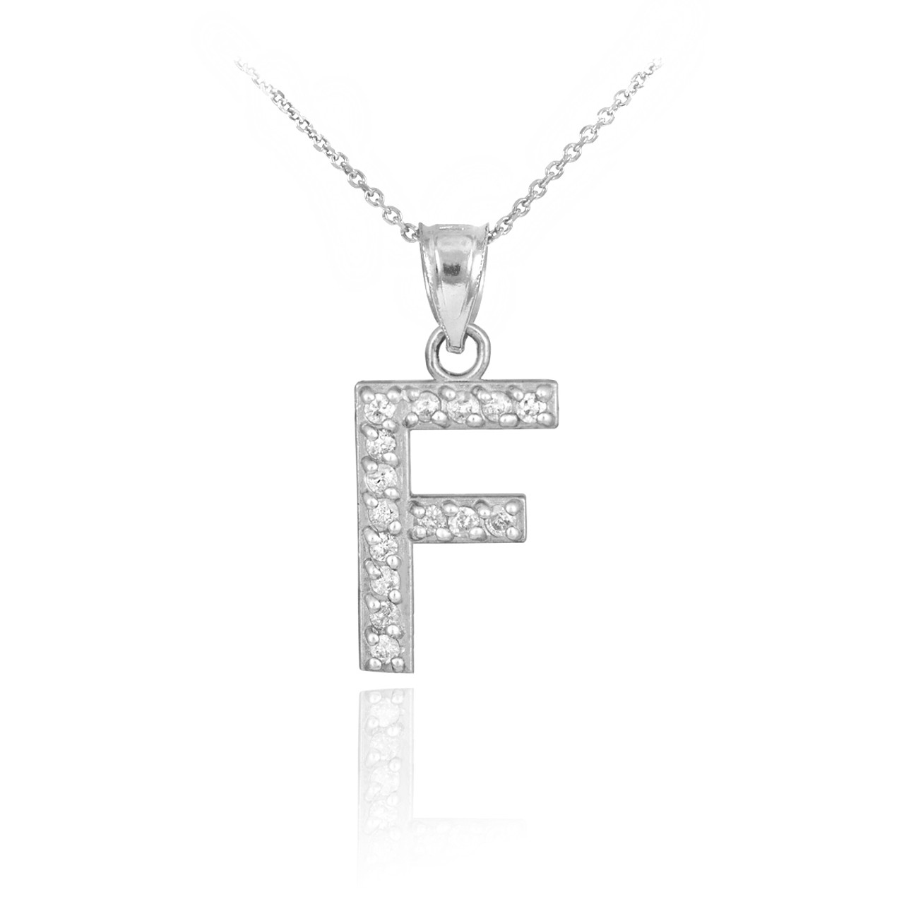 White gold letter f diamond initial pendant necklace mozeypictures Choice Image